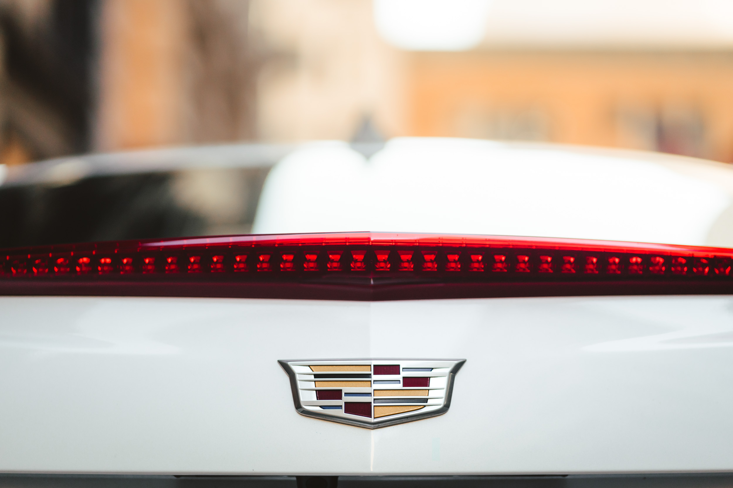 A detail shot of the back end logo of a white Cadillac ATS