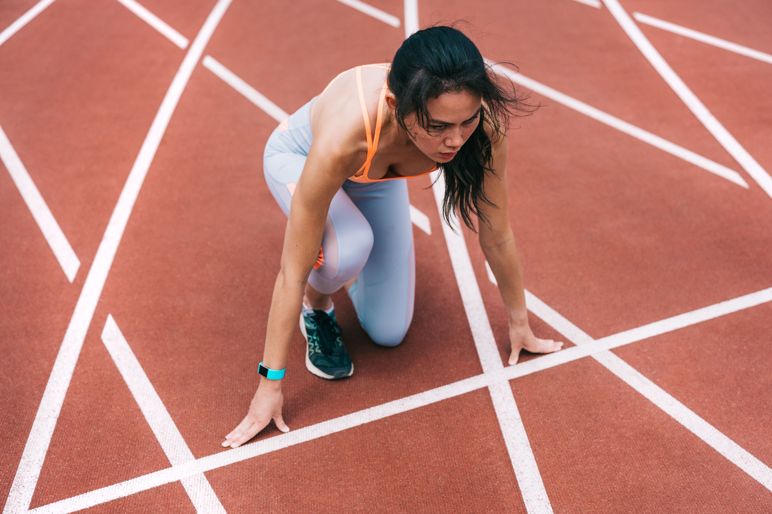 A female athlete on a track in San Francisco