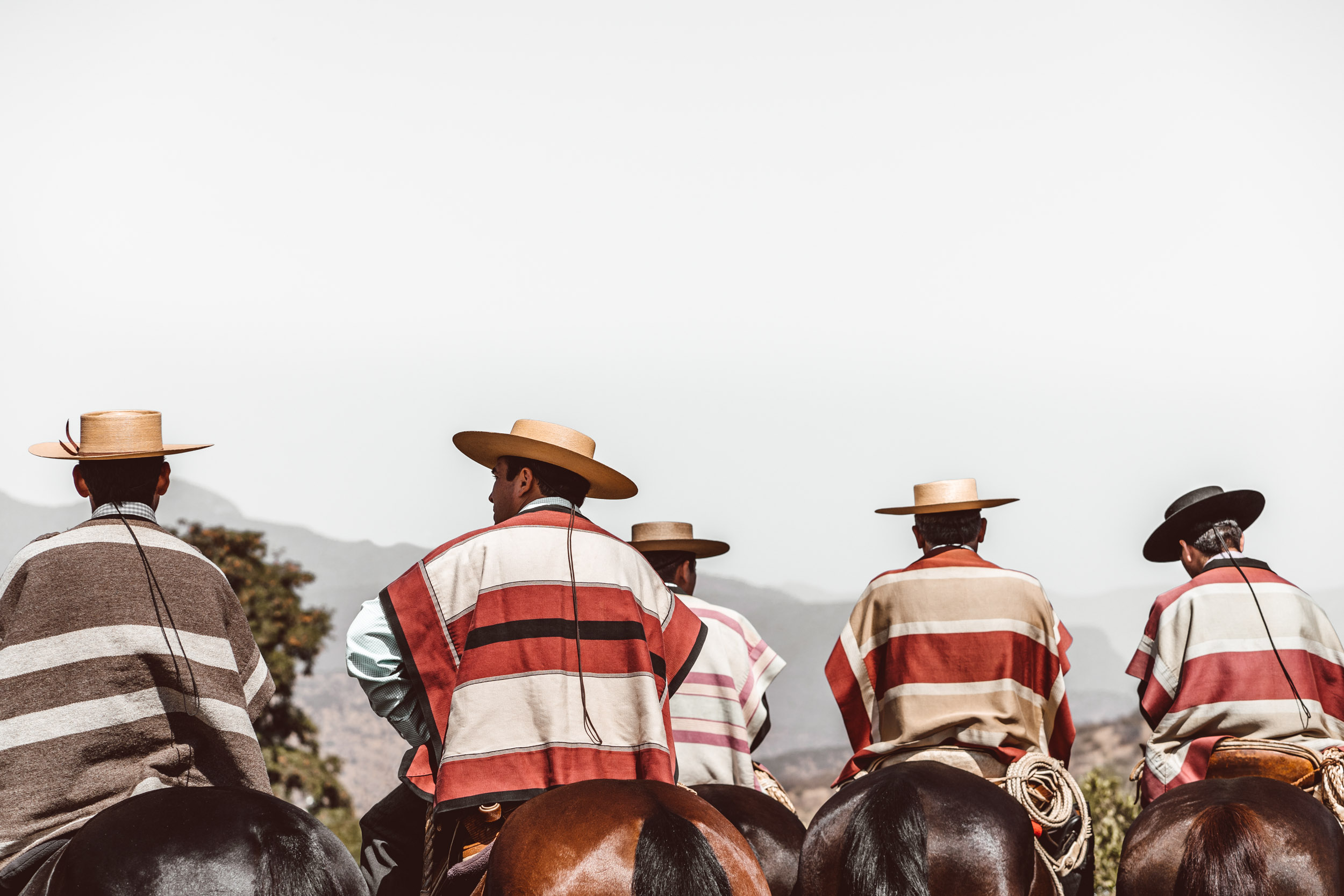 Chilean Huaso cowboys in their traditional attire seated on horseback
